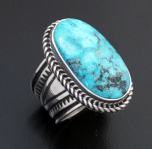 Albert Jake (Navajo) - Adjustable Oval Turquoise & Sterling Silver Stamped Ring #43826 Adjustable Size $300.00