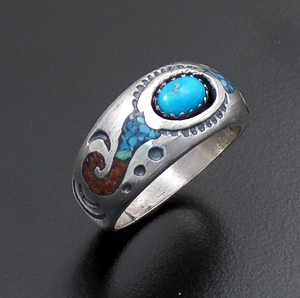 Roie Jaque (Navajo) - Turquoise & Chip Inlay Turquoise & Coral Satin Finished Sterling Silver Ring #43913 $95.00