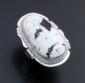 Navajo - Large Oval White Buffalo Turquoise & Sterling Silver Cut & File Ring #43979 Size 8 $155.00