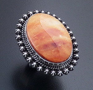 Happy Piasso (Navajo) - Oval Orange Shell & Sterling Silver Button Accented Ring #44204 Size 9 $300.00