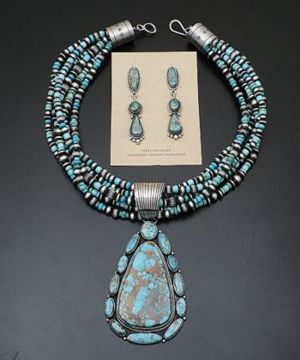 LaRose Ganadonegro - Pilot Mountain Turquoise & Sterling Silver Necklace/Pendant/Earrings Set #33548 $3,300.00
