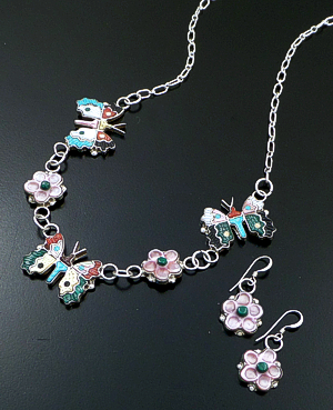 "Tamara Pinto (Zuni) - 20"" Multistone Inlay Butterfly & Flower Sterling Silver Necklace & Earrings Set #43122 Item 10 $360.00"