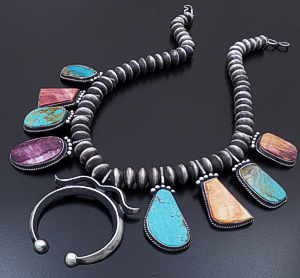 "Selena Warner (Navajo) - 20"" Multistone Satin Finished Sterling Silver Squash Blossom Necklace & Earrings Set #43150 $1,200.00"