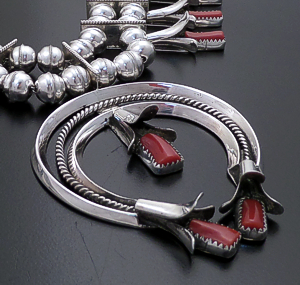 "Doris Smallcanyon (Navajo) - 25"" Red Coral & Sterling Silver Squash Blossom Necklace & Earrings Set #43424 Item 2 $1,500.00"
